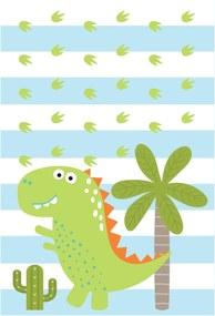 Placa Decorativa Quartinhos Infantil Dinossauro Baby 2 Verde 30x40cm