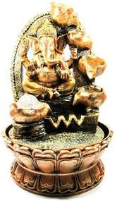 Fonte de Água Ganesha Dourado com Esfera de Vidro e 4 Quedas (40cm)