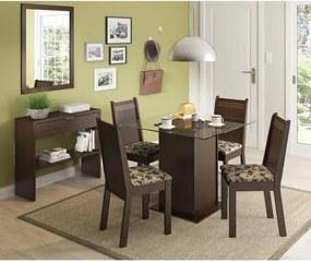 Sala de Jantar Yasmin Mesa, 4 Cadeiras e Aparador - Rustic/Floral