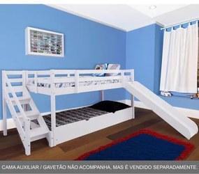 Cama com Escorregador Infantil c/ Escada de Fácil Acesso - Casatema