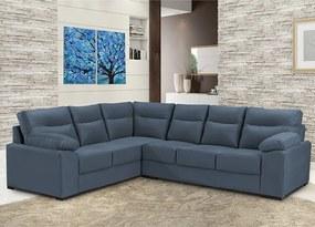 Sofá De Canto Cama Inbox Roseau 1,75x2,65m Tecido Suede Velusoft Azul