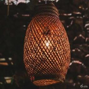 Luminária em Fibra de Arumã c/ Vermelho