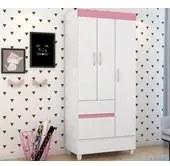 Guarda Roupa Infantil Wind 03 Portas Branco Rosa Demobile