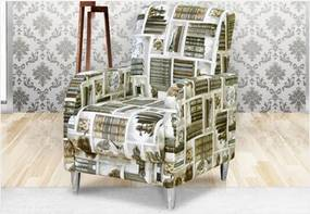 Poltrona Decorativa Fabiola Bege/Livros - Fratello