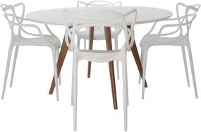 Conjunto Mesa Square Redonda Branco Fosco 88cm + 4 Cadeiras Allegra Branca