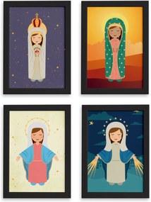 Quadros Nossa Senhora Virgem Maria Mold Preta 33x43 Kit 4un
