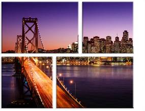 Conjunto de 4 Telas Decorativas Wevans em Canvas 83x103 San Francisco Multicolorido