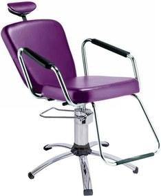 Cadeira Reclinável Alumínio para Barbeiro e Maquiagem, Roxa - Nix Dompel