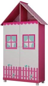 Guarda Roupa Infantil 2 Portas Casinha Gelius Pink Plock
