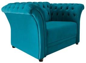 Poltrona Decorativa Chesterfield Sofia Suede Azul Turquesa - ADJ Decor