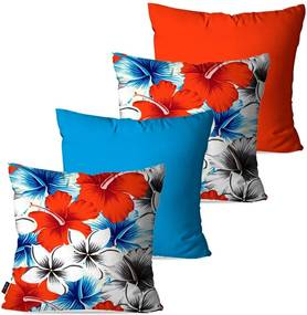 Kit com 4 Almofadas Pump UP Decorativas Azul Flores 45x45cm