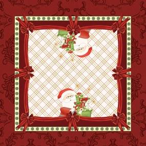 Toalha de Mesa Quadrada 75cm x 75cm Decorativa Natal Xadrez Papai Noel