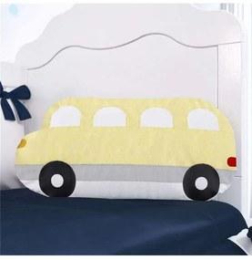 Almofada Amarela e Azul Ônibus Decorativa 50cm Grã