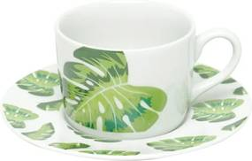 Jogo Xícaras Chá Porcelana 6 Peças Folhas 200ml 17406 Bon Gourmet