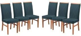 Kit 6 Cadeiras de Jantar Estofada Azul em Veludo Kloten