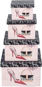 Conjunto com 4 Caixas Retangulares Shoes & Bag