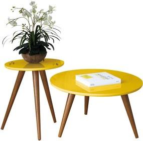 Mesa de Centro e Lateral Sala de Estar Recepção Pés Palito Tailân Amarelo - Gran Belo