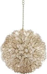 Lustre Redondo em Flor de Madrepérola Branca 35 cm