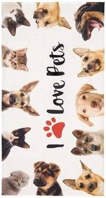 Toalha de Praia Aveludada Transfer I Love Pets
