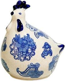 Estatueta Galinha Porcelana Azul e Branca G