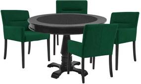 Mesa de Jogos Carteado Redonda Victoria Tampo Reversível Preto com 4 Cadeiras Vicenza Verde - Gran Belo
