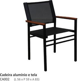Cadeira Venture com Braços em Alumínio e Sling L56cm x P59cm x A83cm