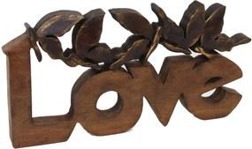 Letras/Passaro Love 36 Cm - Grouper Marrom