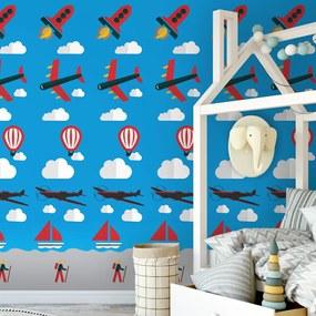 Adesivo infantil azul com avião barco nuvens e foguete