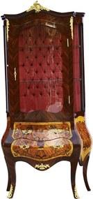 Cristaleira em Madeira Luis XV Marchetada Fundo Capitonê - 204x100x60