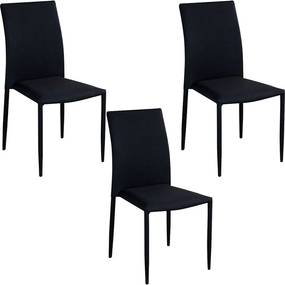 Kit 3 Cadeiras Decorativas Sala e Cozinha Karma Poliéster Preta - Gran Belo
