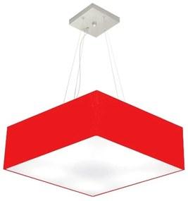 Lustre Pendente Quadrado Md-4137 Cúpula em Tecido 15/70x70cm Vermelho - Bivolt
