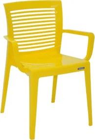 Cadeira Victória encosto vazado horizontal com braços amarela Tramontina 92042000