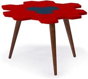 Mesa de Centro Hive em Madeira Maciça - Vermelho/Azul