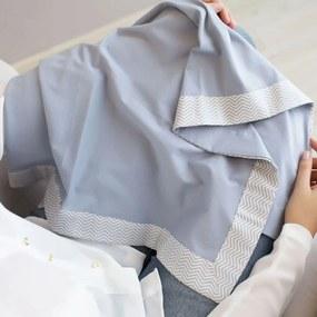 Manta para Bebê Malha Cinza com Barrado Tricoline Chevron Cinza e Branco