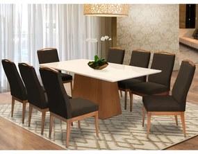Conjunto Mesa Bianca Off White 2,08 m + 8 Cadeiras Lara Aveludado Marrom