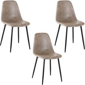 Kit 3 Cadeira Decorativa Sala e Escritório Base Preta Emotion PU Cinza Vintage- Gran Belo