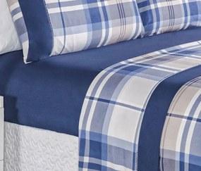 Roupa de Cama Casal Queen Naturale 200 Fios 04 Peças - Azul Marinho