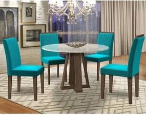 Mesa Isabela 100cm com 4 Cadeiras Amanda Castanho/Off White/Azul - New Ceval
