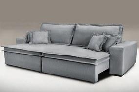 Sofa Retrátil E Reclinável Com Molas Cama Inbox Premium 2,92m Tecido Em Linho Cinza Escuro