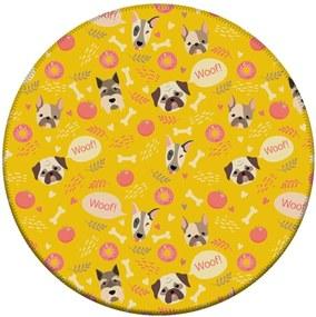 Tapate Love Decor Redondo Wevans Woof Amarelo 94cm
