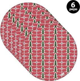 Sousplat Mdecore Natal Pinheiros 32x32cm Vermelho 6pçs