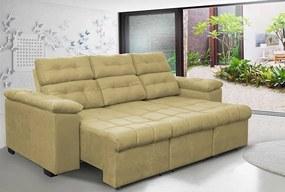 Sofa Columbia 2,80 Mts Retrátil E Reclinavel Tecido Suede Castor
