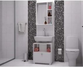 Conjunto de Banheiro com Gabiente e Armário 3 Nichos - Branco