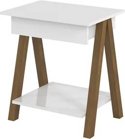 Mesa lateral Old Branco com Amêndoa - Tebarrot Móveis