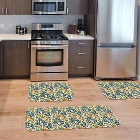 Kit com 3 Tapetes de Cozinha Mdecore Floral BegeÚnico