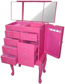 Cômoda Porta-Joias Eternal 10 Gavetas em Madeira Pink com Espelho