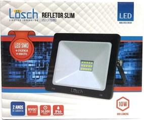 Refletor Led Preto SMD Slim 10W 6000K Bivolt - Losch - 39761