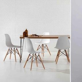 Conjunto Mesa Industrial Iron 135cm Louro Freijó com 4 Cadeiras Eiffel Brancas e Pés Madeira