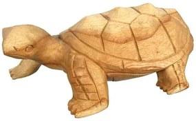 Escultura de Tartaruga em Madeira Clara