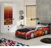 Guarda Roupa e Cama Infantil Sport Car Branco Moveis Estrela
